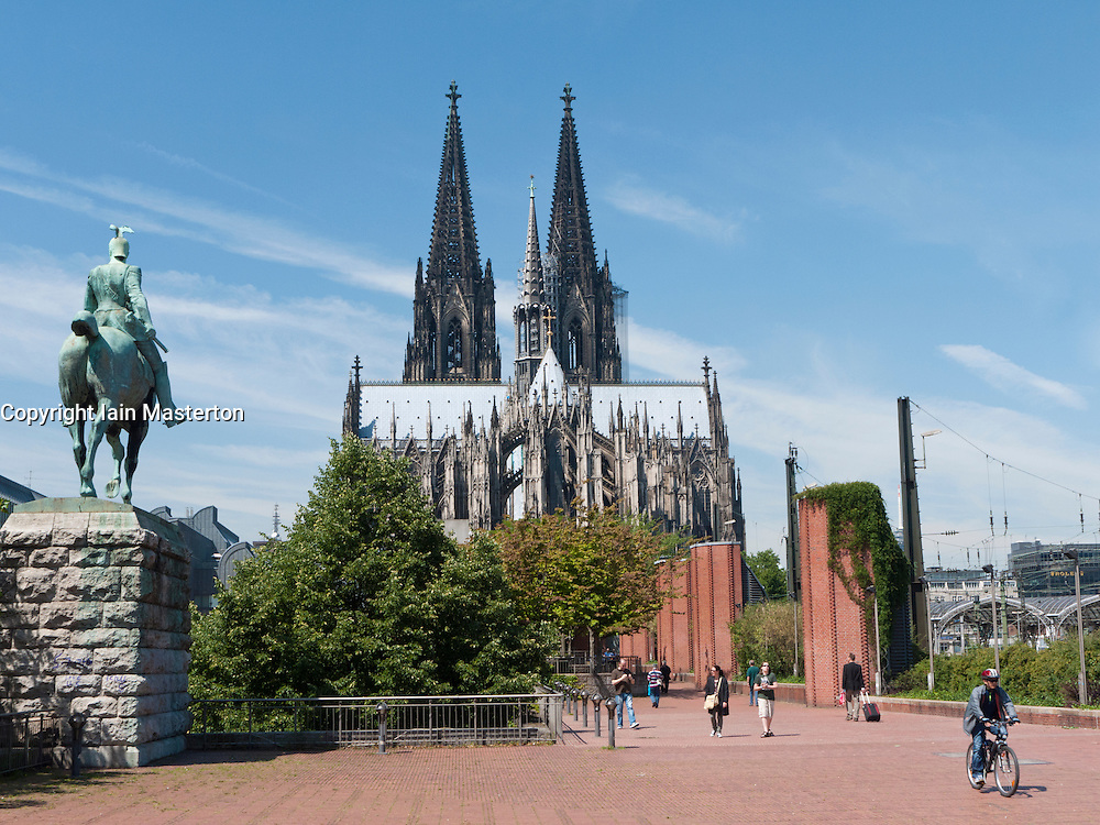View of Cologne cathedral or Dom and adjacent Museum Ludwig in Germany