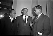 11/01/1963<br /> 01/11/1963<br /> 11 January 1963<br /> Leipzig Fair reception and film show at the Gresham Hotel, Dublin. At the reception were (l-r): P. Power, Huet Brothers, Dublin; T. McGovern, Beatty and Crabbe Ltd., Dublin and T.F. Maher, Navan.
