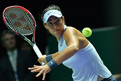 SINGAPORE, Oct. 23, 2017  Caroline Garcia of France hits a return during the group match against Simona Halep of Romania at WTA Finals tennis tournament in Singapore, Oct. 23, 2017. (Credit Image: © Then Chih Wey/Xinhua via ZUMA Wire)