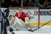 KELOWNA, CANADA - APRIL 7: Cole Kehler #31 of the Portland Winterhawks defends the net against the Kelowna Rockets on April 7, 2017 at Prospera Place in Kelowna, British Columbia, Canada.  (Photo by Marissa Baecker/Shoot the Breeze)  *** Local Caption ***