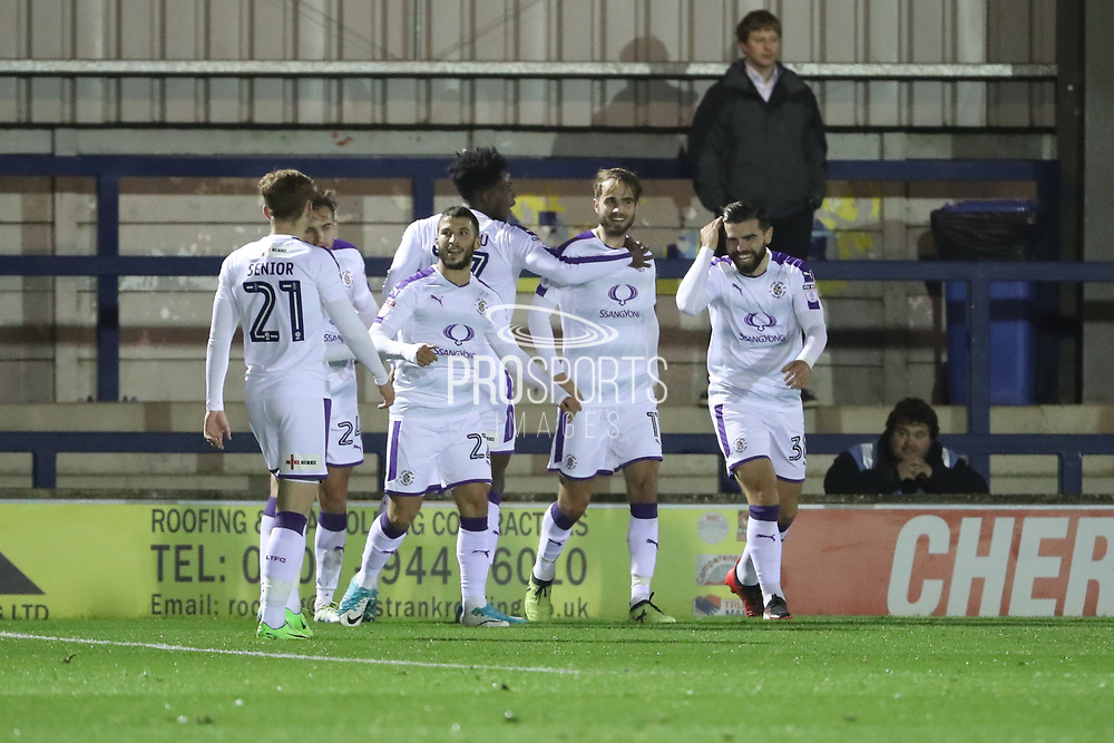 Luton Town midfielder Andrew Shinnie (11) celebrating after scoring goal to make it 0-1 during the EFL Trophy match between AFC Wimbledon and Luton Town at the Cherry Red Records Stadium, Kingston, England on 31 October 2017. Photo by Matthew Redman.