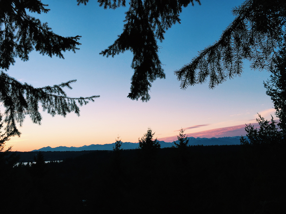 Sunset from the treetops on Bainbridge Island, Washington. The Olympic mountain range is backlight in the distance. Taken with an iPhone6