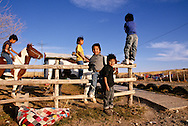 Pine Ridge Sioux Indian Reservation, South Dakota, Oglala Sioux (Lakota) brothers play at rural home in Kyle area.