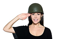 beautiful woman with helmet army soldier saluting on studio isolated background