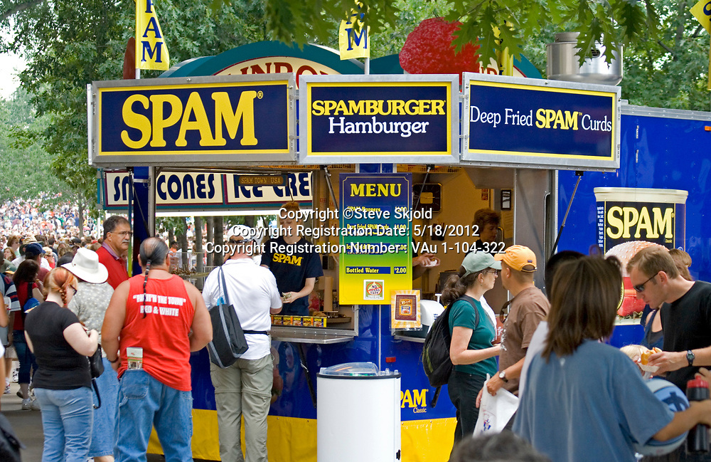 Spamburger or hamburger at a fast food shop. Minnesota State Fair St Paul Minnesota MN USA