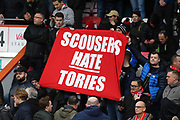 The Liverpool fans show their political views ahead of kick off in the Premier League match between Bournemouth and Liverpool at the Vitality Stadium, Bournemouth, England on 7 December 2019.