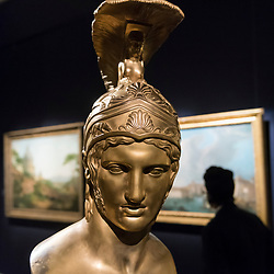 "© Licensed to London News Pictures. 29/11/2019. LONDON, UK. ""Bust of Achilles"", 1821, by Luigi Righetti (Est. GBP60-80k) at the preview of Old Masters sales at Sotheby's, New Bond Street.  Works will be offered for sale on 4 and 5 December.  Photo credit: Stephen Chung/LNP"
