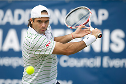 LIVERPOOL, ENGLAND - Saturday, June 18, 2011: Fernando Gonzalez (CHI) in action during the Men's Final on day three of the Liverpool International Tennis Tournament at Calderstones Park. (Pic by David Rawcliffe/Propaganda)