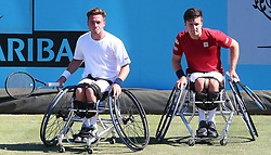 June 22, 2018 - London, United Kingdom - L-R Alfie Hewett  and Gordon Reid  (GBR) .during Fever-Tree Championships Wheelchair Doubles Event  match between Alfie Hewett and Gordon Reid  (GBR) against Stephane Houdet and Nicolas Peifer (FRA) at The Queen's Club, London, on 22 June 2018  (Credit Image: © Kieran Galvin/NurPhoto via ZUMA Press)