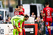 OSTERSUND, SWEDEN - JULY 21: Hosam Aiesh of Ostersunds FK and Saman Ghoddos of Ostersunds FK celebrates after scoringHosam Aiesh Saman Ghoddos during the Allsvenskan match between Ostersunds FK and Trelleborgs FF on July 21 at Jamtkraft Arena, 2018 in Gothenburg, Sweden. Photo by Johan Axelsson/Ombrello ***BETALBILD***