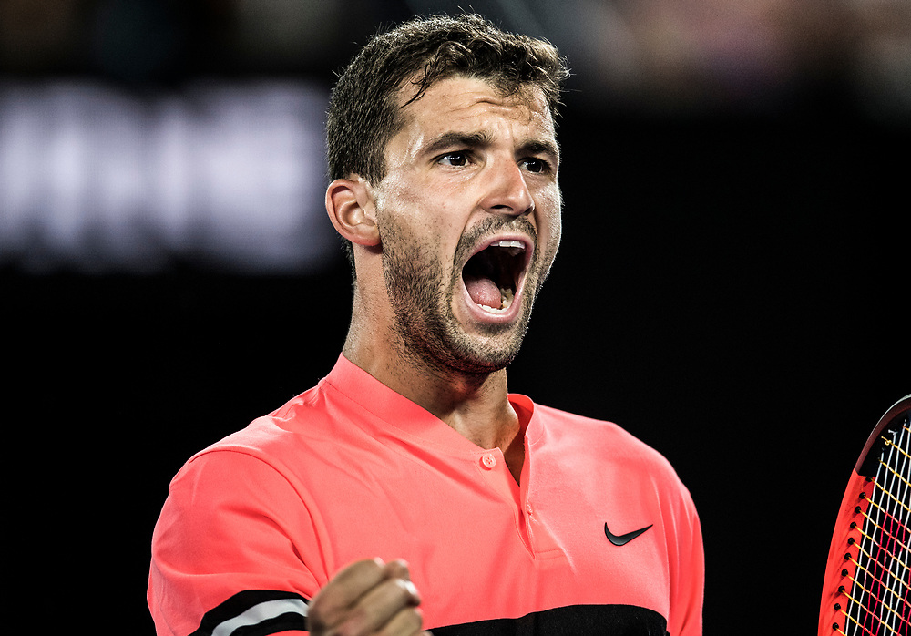 Grigor Dimitrov of Bulgaria on day three of the 2018 Australian Open in Melbourne Australia on Wednesday January 17, 2018..<br /> (Ben Solomon/Tennis Australia)