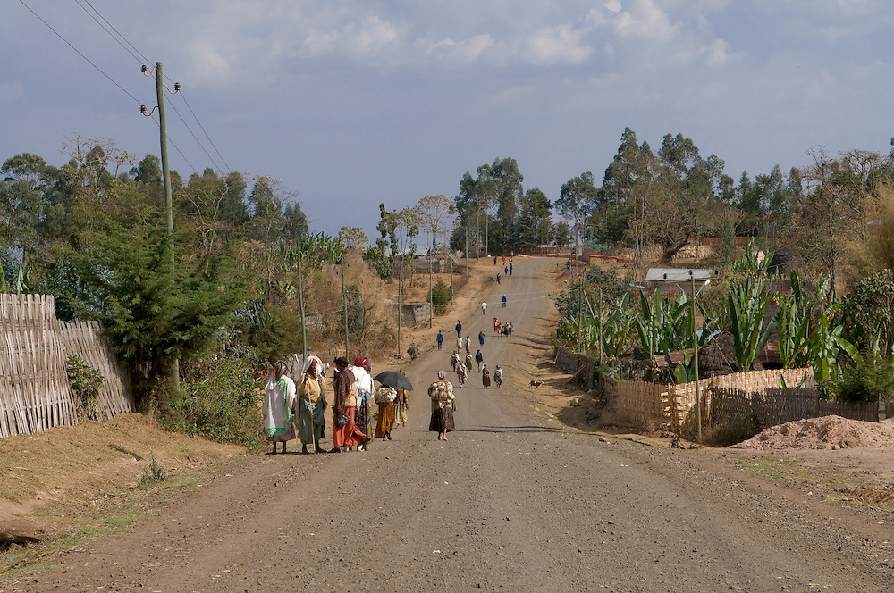 Road going through a Dorze village, Ethiopia,Africa