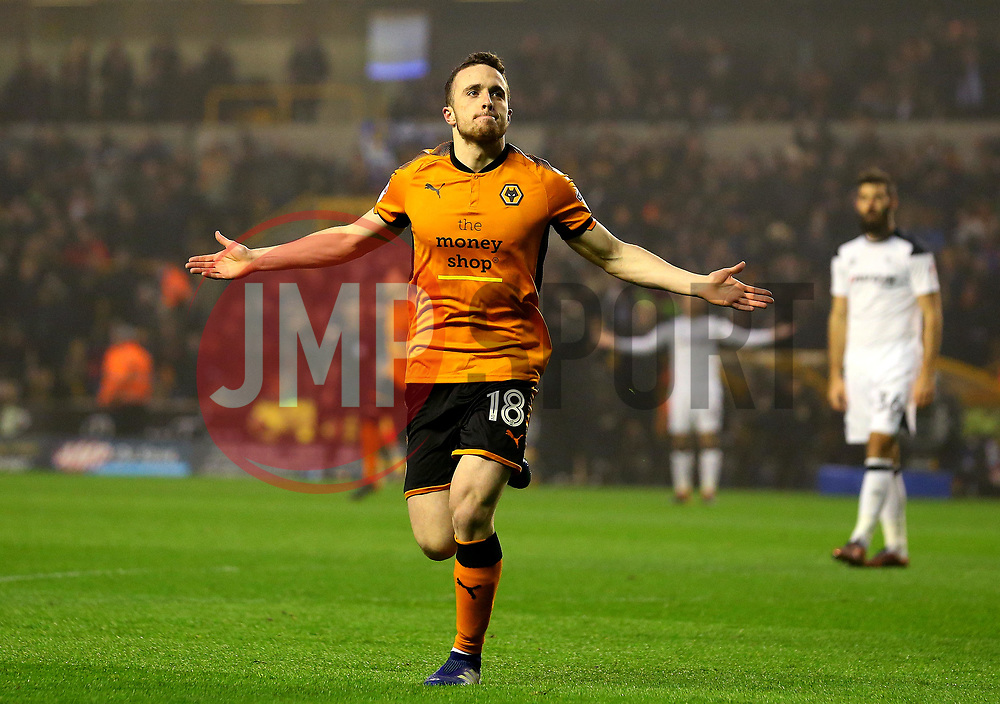 Diogo Jota of Wolverhampton Wanderers celebrates scoring a goal to make it 1-0 - Mandatory by-line: Robbie Stephenson/JMP - 11/04/2018 - FOOTBALL - Molineux - Wolverhampton, England - Wolverhampton Wanderers v Derby County - Sky Bet Championship