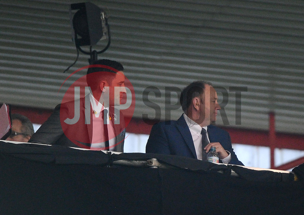 Barnsley manager , Lee Johnson and his dad, Cheltenham Town Manager Gary Johnson, both formally of Bristol City take their place in the sky press box - Photo mandatory by-line: Joe Meredith/JMP - Mobile: 07966 386802 - 07/04/2015 - SPORT - Football - Bristol - Ashton Gate - Bristol City v Swindon Town - Sky Bet League One