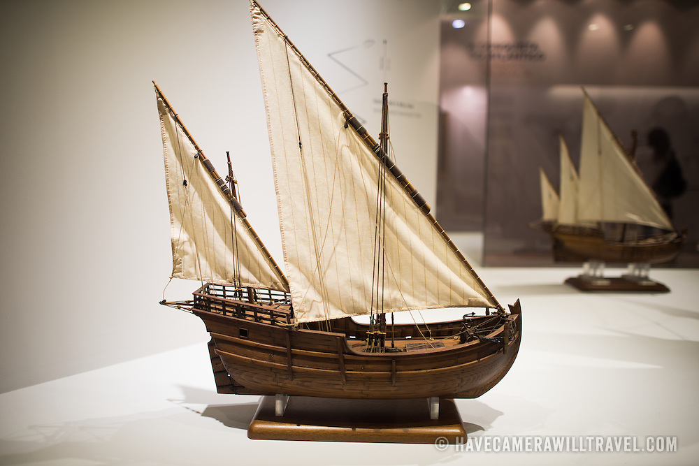 "A model of a 2 Masts Lateen Rigged Caravel. Known as ""disovery caravel,"" it was the main type of ship used in Portuguese maritime exploration from 1440 until the end of the 15th century. The Museu de Marinha (Maritime Museum of Navy Museum) focuses on Portuguese maritime history. It features exhibits on Portugal's Age of Discovery, the Portuguese Navy, commercial and recreational shipping, and, in a large annex, barges and seaplanes. Located in the Belem neighborhood of Lisbon, it occupies, in part, one wing of the Jerónimos Monastery. Its entrance is through a chapel that Henry the Navigator had built as the place where departing voyagers took mass before setting sail. The museum has occupied its present space since 1963."