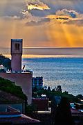 Turret overlooking the Mediterranean Sea during sunrise, Taormina, Sicily, Italy