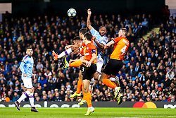 Raheem Sterling of Manchester City challenges for a header - Mandatory by-line: Robbie Stephenson/JMP - 26/11/2019 - FOOTBALL - Etihad Stadium - Manchester, England - Manchester City v Shakhtar Donetsk - UEFA Champions League Group Stage