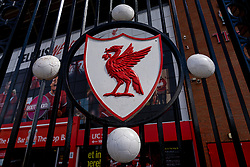 LIVERPOOL, ENGLAND - Monday, August 3, 2020: A red Liver bird on the Paisley Gates outside Anfield. (Pic by David Rawcliffe/Propaganda)