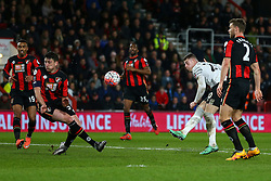 Ross Barkley of Everton shot is blocked by Tommy Elphick of Bournemouth - Mandatory by-line: Jason Brown/JMP - Mobile 07966 386802 20/02/2016 - SPORT - FOOTBALL - Bournemouth, Vitality Stadium - AFC Bournemouth v Everton - The Emirates FA Cup