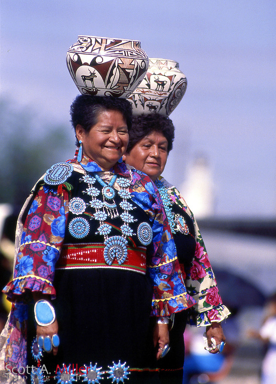 Gallup, N.M..; 1992 --- Traditionally dressed Zuni Olla Maidens during the Intertribal ceremonial in Gallup, N.M. The cermonial has been going on since 1922...More than 100 Native American tribes from across the country will take part in the Intertribal Ceremonial at Red Rock State Park...Activities will include music, storytelling, rodeo, ceremonial dances, traditional arts and crafts and Native American food. ..Photo by Scott A. Miller