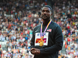 London, 2017 August 06. A humble Justin Gatlin wears his gold medal for the men's 100m on day three of the IAAF London 2017 world Championships at the London Stadium. © Paul Davey.