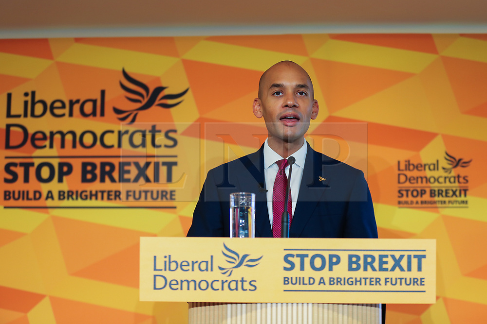 © Licensed to London News Pictures. 25/11/2019. Watford, UK. Liberal Democrat Foreign Affairs Spokesman CHUKA UMUNNA speaks to party activists and supporters at Watford Football Club on Liberal Democrat foreign policy. The Liberal Democrats' commit to spending 2% of Gross Domestic Product (GDP) ondefence, as mandated by NATO. Photo credit: Dinendra Haria/LNP