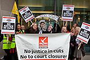 The current Conservative government are proposing to close103 Magistrates Court and 54 County Courts in the UK as part of their current budget cut plans. PCS union members protest about job losses through court closures outside the Ministry of Justice (MOJ) building, central London. 15th September 2010.