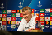 Ole Gunnar Solskjaer speaking and smiling during the Manchester United FC Press Conference ahead of the Champions League Quater-Final 2nd leg at Camp Nou, Barcelona, Spain on 15 April 2019.