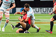 Maxime Machenaud (rac) and Eric Escande (tou) during the French Championship Top 14 Rugby Union match between Racing 92 and RC Toulon on April 8, 2018 at U Arena in Nanterre, France - Photo Pierre Charlier / ProSportsImages / DPPI