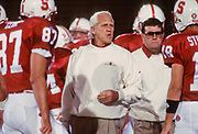 PALO ALTO, CA -  SEPTEMBER 18:  Head coach Bill Walsh of the Stanford Cardinal talks to his team during an NCAA football game between Stanford University and the University of Colorado at Boulder played at Stanford Stadium in Palo Alto, California on September 18, 1993. (Photo by David Madison/Getty Images) *** Local Caption *** Bill Walsh