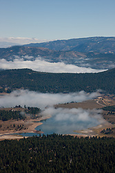 """Prosser Reservoir Aerial 2"" - This photograph of a foggy Prosser Reservoir was shot from an amphibious seaplane with the door removed."