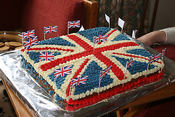 Cambridge, UK  29/04/2011. The Royal Wedding of HRH Prince William to Kate Middleton. Cake made for a street party in Cambridge Kimberley Road. Photo credit should read Jason Patel/LNP. Please see special instructions. © under license to London News Pictures.