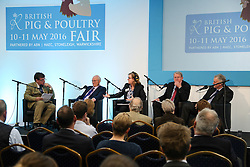© Licensed to London News Pictures. 11/05/2016. Stoneleigh, UK. L-R - Colin Rayner, Stuart Agnew, Charlotte Smith, Sir Peter Kendall and James Hook, at a debate about the upcoming EU referendum during the 2016 Pig and Poultry Fair at Stoneleigh, Warwickshire, UK. A recent survey carried out by Farmers Weekly magazine revealed that 58 percent of farmers are in favour whereas only 31 percent said they wanted to remain. The debate was put on by the BBC Radio Four's Farming Today programme and will be broadcast later this month. Photo credit : Ian Hinchliffe/LNP
