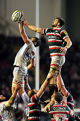 Geoff Parling of Exeter Chiefs competes with Mike Fitzgerald of Leicester Tigers for the ball at a lineout - Mandatory byline: Patrick Khachfe/JMP - 07966 386802 - 03/03/2017 - RUGBY UNION - Welford Road - Leicester, England - Leicester Tigers v Exeter Chiefs - Aviva Premiership.