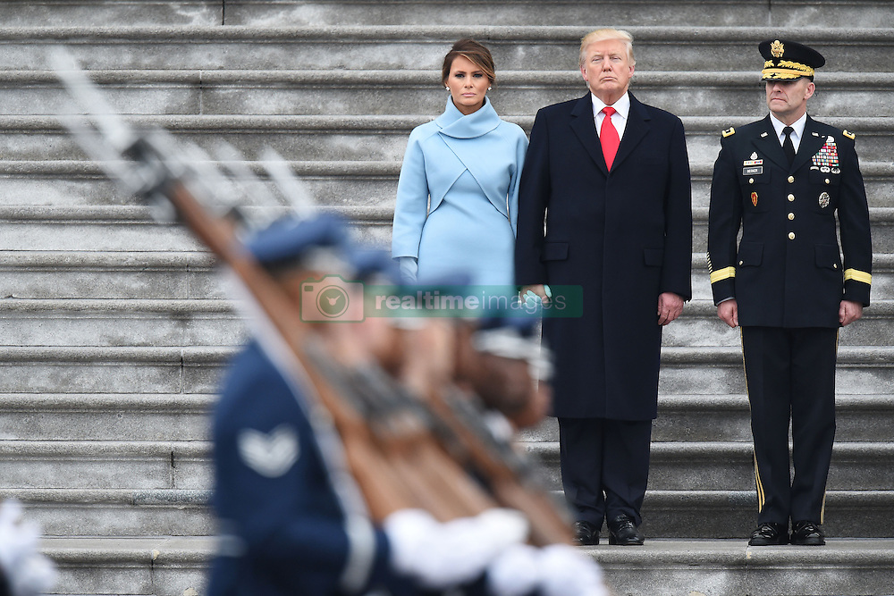 President Donald Trump, First Lady Melania, Vice President Mike Pence outside the US Capitol. January 20, 2017 in Washington, DC. Photo by Lionel Hahn/AbacaUsa.com