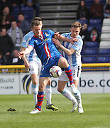 Inverness Caley Thistle's Marley Watkins holds off Dundee's Willie Dyer - Inverness v Dundee  - SPFL Premiership at the Caledonian Stadium<br /> <br />  - © David Young - www.davidyoungphoto.co.uk - email: davidyoungphoto@gmail.com