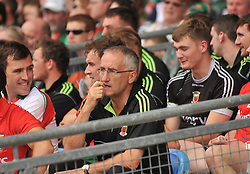 Mayo Trainer Donie Buckley sits amoung the subsitutes at the Connacht Final in McHale Park.<br /> Pic Conor McKeown