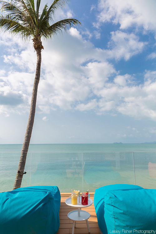 Upper lounging terrace at Sea and Sky beach front restaurant located on Ban Tai beach, Koh Samui, Thailand