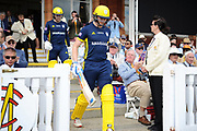 Aneurin Donald and Tom Alsop of Hampshire walk out of the pavilion to open the innings for Hampshire during the Royal London One-Day Cup final  between Somerset County Cricket Club and Hampshire County Cricket Club at Lord's Cricket Ground, St John's Wood, United Kingdom on 25 May 2019.