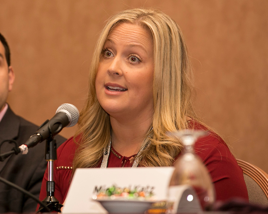November 10, 2015, Las Vegas, Nevada:<br /> Kelly Jacikas of Eventbrite speaks at the Concurrent Session #2: Technology Track Digital Trends in Ticketing during the TEAMS Conference &amp; Expo at Mandalay Bay Convention Center in Las Vegas, Nevada Monday, November 5, 2015.<br /> (Photo by Billie Weiss/TEAMS)