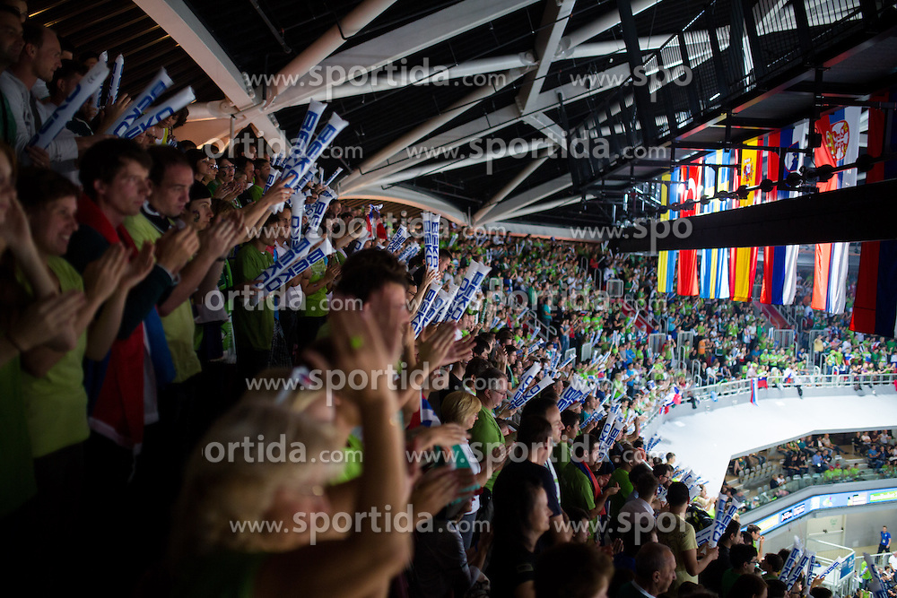 Fans during basketball match between national team of Finland and Slovenia at Eurobasket 2013 on September 16, 2013 in SRC Stozice, Ljubljana, Slovenia. (Photo By Matic Klansek Velej / Sportida.com)
