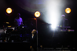 """© Licensed to London News Pictures . 07/07/2017 . Manchester , UK . """" James """" perform live at the Castlefield Bowl as part of Sounds of the City , during the Manchester International Festival . Photo credit : Joel Goodman/LNP"""