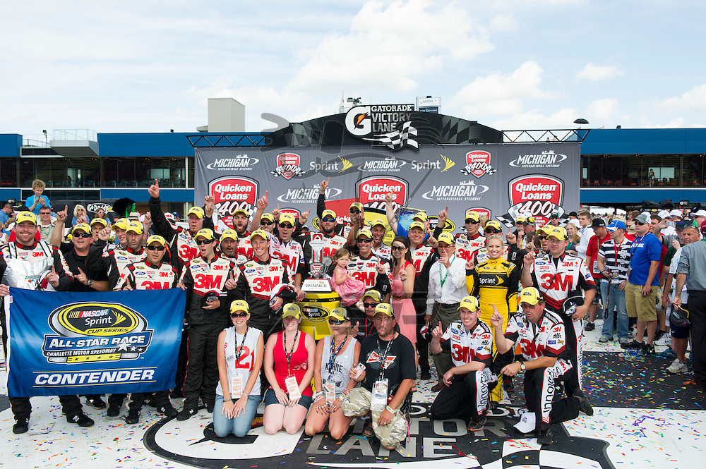 Brooklyn, MI - JUN 16, 2013: Greg Biffle (16) wins the Quicken Loans 400 at the Michigan International Speedway in Brooklyn, MI.