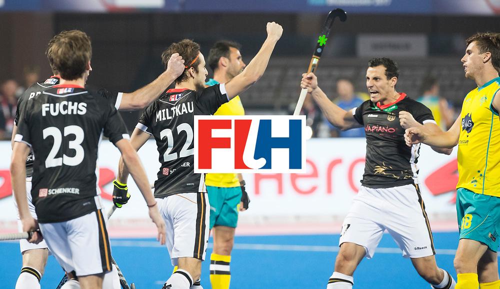 BHUBANESWAR - The Odisha Men's Hockey World League Final . Match ID 05 . Germany  v Australia .Marco Miltkau (Ger) scored 1-0  and celebrates with Timur Oruz (Ger)  WORLDSPORTPICS COPYRIGHT  KOEN SUYK