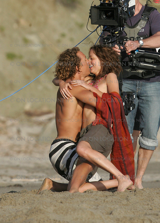 May 23, 2007 Malibu, CA. .Matthew McConaughey films a kissing scene with Alexie Gilmore for Surfer Dude.  Non Exclusive Photo by Eric Ford 1-818-613-3955 info@onlocationnews.com