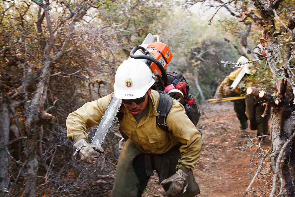 A Kern Valley Hotshot hauls his chainsaw through the brush while cutting fire line around spot fires thrown by the main fire.