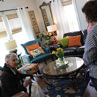 RAY VAN DUSEN/BUY AT PHOTOS.MONROECOUNTYJOURNAL.COM<br /> Jerri Stacy, left, discusses a room in her home, Stone's Throw, a 1910 Craftsman that made its Aberdeen Pilgrimage debut this weekend. Several of the homes and events reported higher than average participation throughout the weekend.
