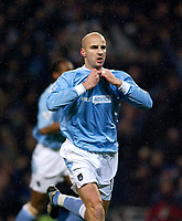 Photo. Jed Wee.<br /> Manchester City v Leeds United, FA Barclaycard Premiership, City of Manchester Stadium, Manchester. 22/12/2003.<br /> Manchester City's Antoine Sibierski comes off the bench to head in City's equaliser.