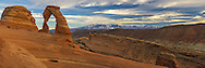Delicate Arch is the most famous landmark in Arches National Park. The 65 foot tall arch is depicted on Utah license plates and postage stamps. In the background you can see the snowcapped La Sal Mountains.<br /> <br /> Date Taken: 11/7/2013