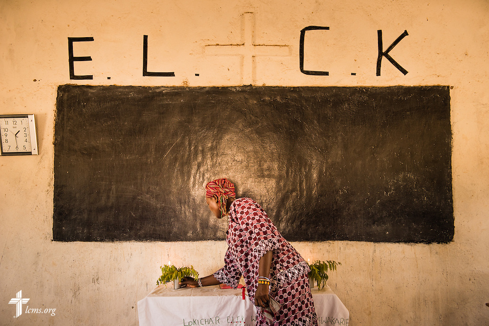 Candles are aligned on the altar before worship Photographs at the Evangelical Lutheran Church in Kenya on Thursday, Oct. 15, 2015, in Lokichar, Kenya. LCMS Communications/Erik M. Lunsford
